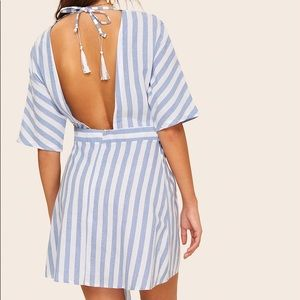 SHEIN Dresses - Striped Plunging Backless Dress